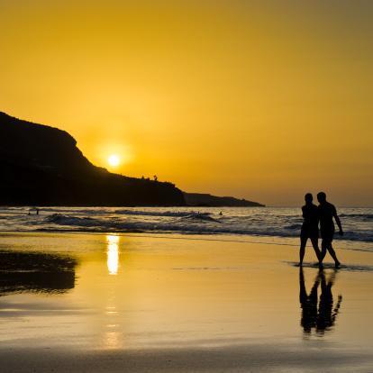 sunrise beach walking